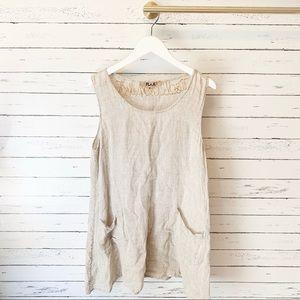 Flax Tops - Flax Beige Linen Sleeveless Pocket Tunic